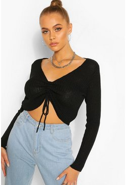Black Ribbed Ruched Front Top