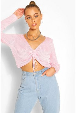 Blush Ribbed Ruched Front Top