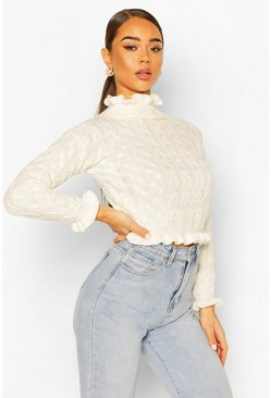 Cream Cable Knit Ruffle Crop Jumper