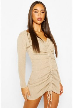 Stone Ruched Front Knitted Dress