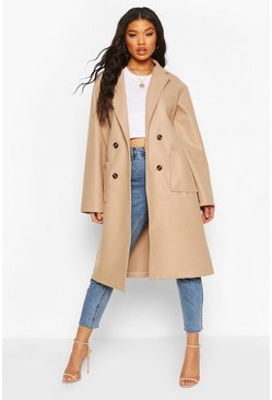 Stone Oversized Wide Sleeve Belted Wool Look Coat