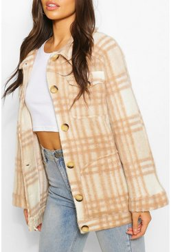 Camel Oversized Check Brushed Wool Jacket