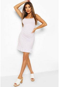 Lilac High Neck Strappy Ruffle Hem Mini Dress