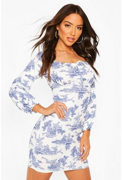 Blue Tie Detail Cup Porcelain Print Mini Dress