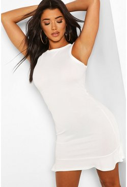 Ivory Ruffle Hem Bodycon Mini Dress