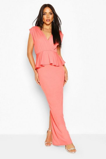 Coral Pleated Shoulder Peplum Waist Maxi Dress