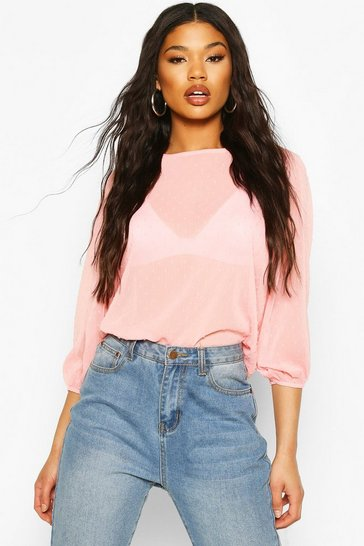 Blush Dobby Spot Batwing Top