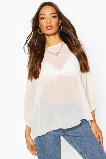 White Dobby Spot Batwing Top