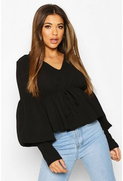 Black Smock Top With Double Layered Sleeves