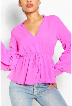 Pink Smock Top With Double Layered Sleeves