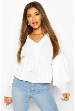 Smock Top With Double Layered Sleeves, White