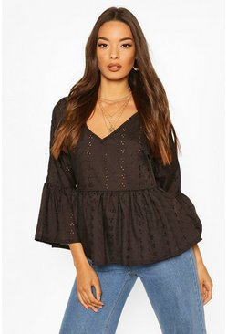 Black Broderie Anglais V Neck Flared Sleeve Smock Top