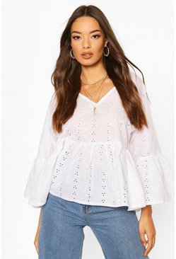 Broderie Anglais V Neck Flared Sleeve Smock Top, Ivory