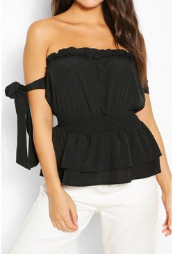 Black Shirred Waist Woven Top