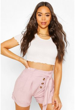 Pink Paperbag Button Up Belted Shorts