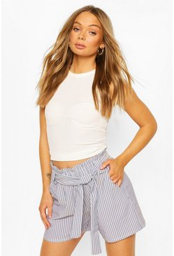 Blue Belted Stripe Tailored Shorts
