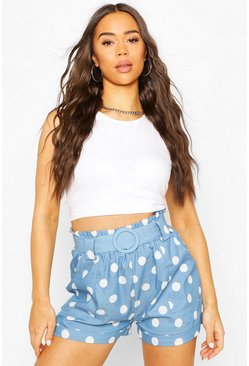 Blue Large Scale Polka Dot Belted Shorts
