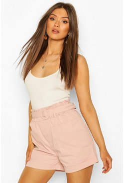 Blush Two Pocket Belted Turn Up Shorts
