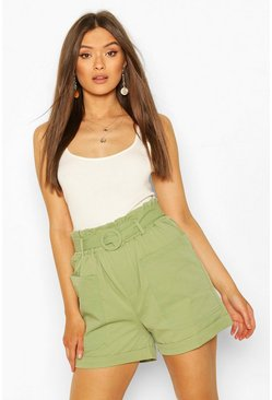 Sage Two Pocket Belted Turn Up Shorts