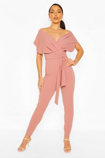 Rose Off Shoulder Tie Waist Jumpsuit
