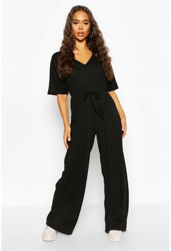 Black Rib Oversized Slouch Jumpsuit