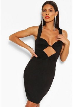 Strappy Cut Out Mini Dress, Black