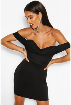 Black Off The Shoulder Cupped Mini Dress