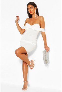 Ivory Off The Shoulder Cupped Mini Dress