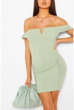 Bardot Mini Dress With Ruffle Sleeves, Sage