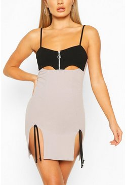 Grey Cut Out Mini Dress With Side Split Detail