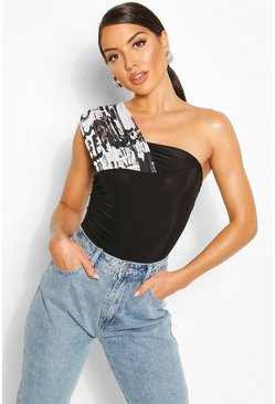 Black Printed Mesh One Shoulder Body