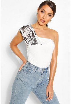 Printed Mesh One Shoulder Body, Cream