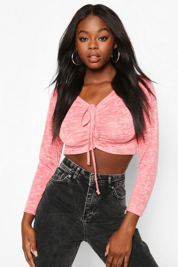 Pink Burnout Ruched Tie Front Top