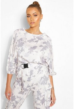 Top con stampa camouflage Easy Wear, Pietra