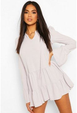 Grey Tiered Smock Dress With Neck Tie