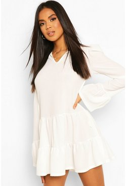 White Tiered Smock Dress With Neck Tie