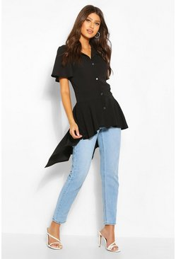 Black Button Front Shirt With Waterfall Hem