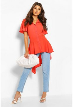 Orange Button Front Shirt With Waterfall Hem
