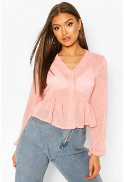 Blush Dobby Spot Button Front Peplum Top