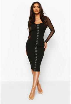Black Hook And Eye Detail Mesh Sleeve Midi Dress