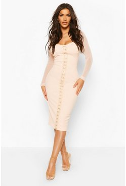 Peach Hook And Eye Detail Mesh Sleeve Midi Dress