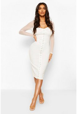 White Hook And Eye Detail Mesh Sleeve Midi Dress