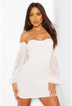 Off The Shoulder Mesh Sleeve Mini Dress, Ivory