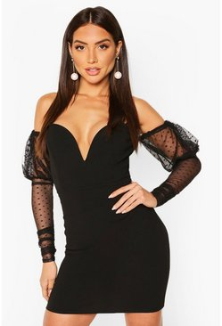 Dobby Mesh Off The Shoulder Mini, Black