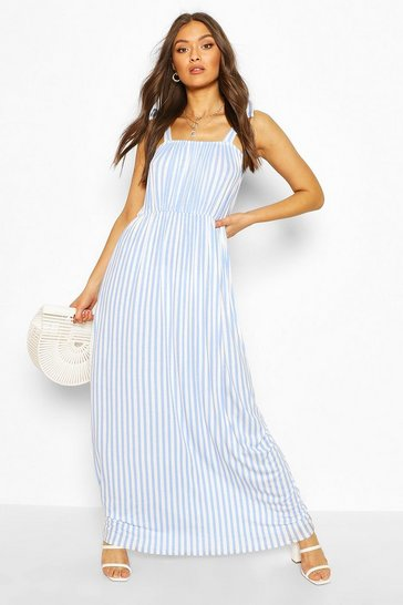Blue Tie Shoulder Elasticated Waist Maxi Dress