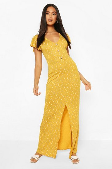 Mustard V Neck Button Front Ruffle Hem Maxi Dress