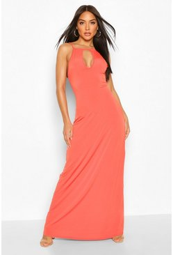 Orange High Neck Cut Out Maxi Dress