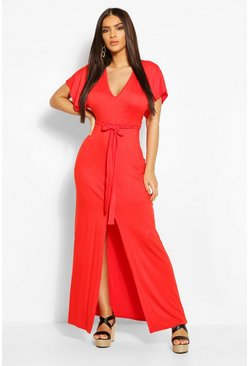Orange V-Neck Belted Split Maxi Dress