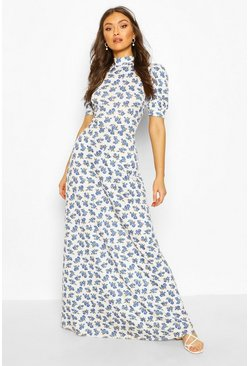 White Puff Sleeve Floral Cut Out Back Maxi Dress