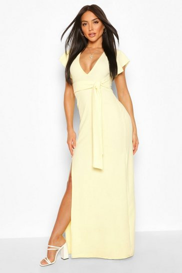 Lemon Ruffle Sleeve Plunge Tie Waist Maxi Dress